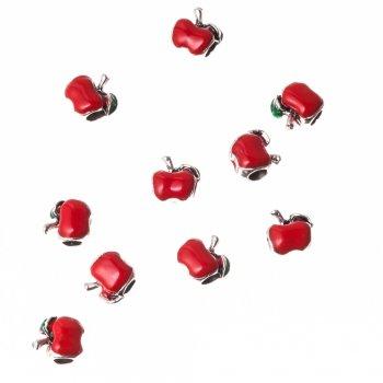 Металева намистина шарм з емаллю, червоне яблуко