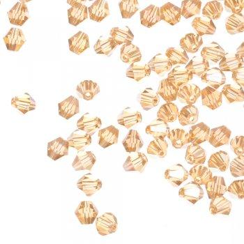 Бусина двуконическая, бежевая медовая, хрусталь, 6 мм