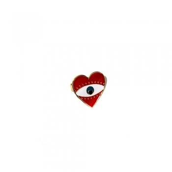 Металлическое кольцо сердце с глазом