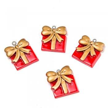 Подвески из полимерной глины новый год. Красный подарок