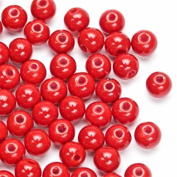 Бусина стеклянная 6 мм темно-красная
