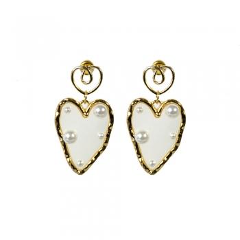 Сережки золоте серце з перлинами