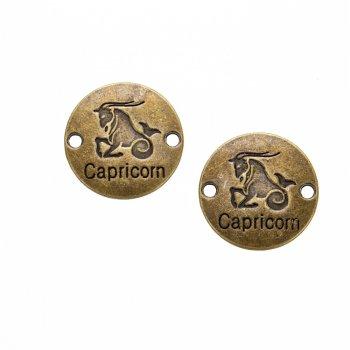 Металлическая литая подвеска знак зодиака Козерог, бронза, 22 мм