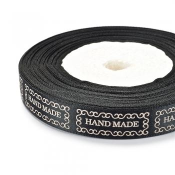 Лента атласная 15 мм Handmade черная