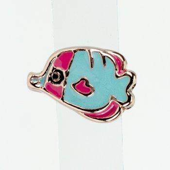 Бусина слайдер Рыбка розовое золото