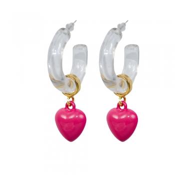 Сережки Серце рожеве