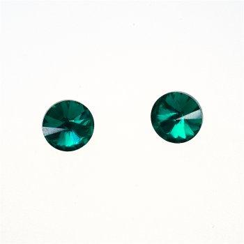 Стразы стеклянные вставные. Изумрудно-зеленый. Диаметр 10 мм.