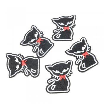 Тканинна нашивка Чорний кіт з бантом