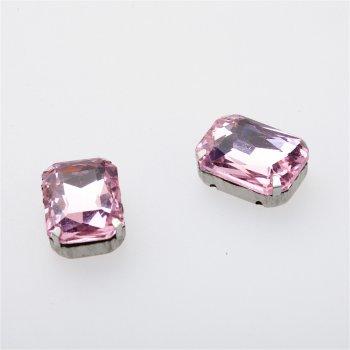 Стразы стеклянные в металлической оправе. Розовый. Длина 18 мм, ширина 13 мм.