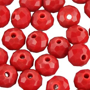 Кришталева намистина рондель 6 мм червона