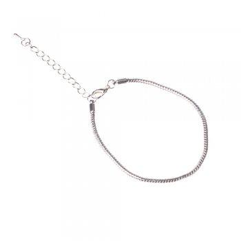 Основа для браслета. Серебристый. Длина 19 см, диаметр 3 мм.