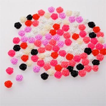 Пластиковая бусина микс цветов роза