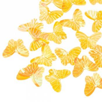 Пайетки желтый радужный бабочка 25 мм