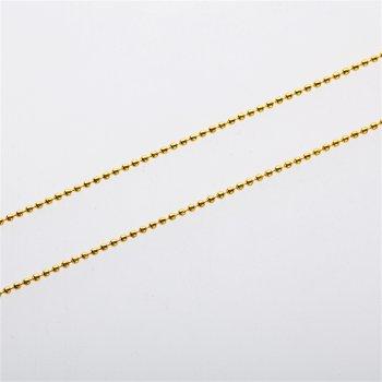 Цепь с цельными звеньями, золотистая. Калибр 1,5 мм, ширина звена 1,5 мм, длина звена 1,5 мм