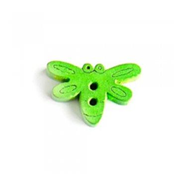 Метелик великий, ґудзик дерев'яний, зелений, 15х20 мм