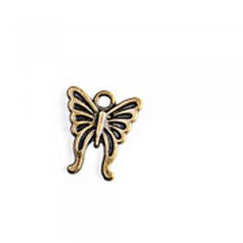Метелик середній, металева лита підвіска, бронза, 20х15 мм