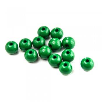 Пластик одноколірний. Бусина кругла зелена 12 мм.