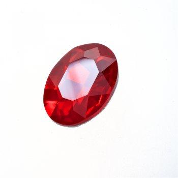 Стразы стеклянные вставные. Красный. 25х18 мм
