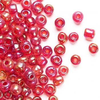Бисер круглый, крупный, красный. Калибр 6 (3,6 мм)