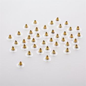 Фиксатор для серег конус с шляпкой золотой