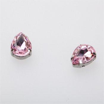 Стрази скляні в металевій оправі. Рожевий. Довжина 14 мм, ширина 10 мм.