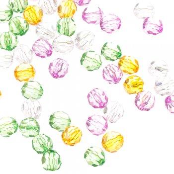 Пластиковые бусины граненые круглые белые