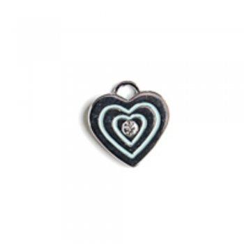 Сердце металлическое с камнем. Подвеска с цветной эмалью мельхиоровый