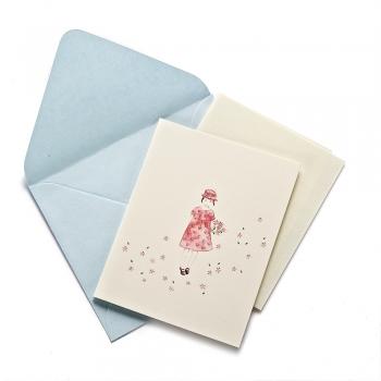 Открытка с конвертом Девочка с цветами