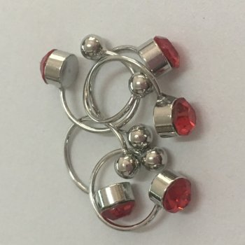 Сережки-Кафи з червоним каменем