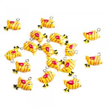 Птица желтая. Подвески из полимерной глины зверюшки