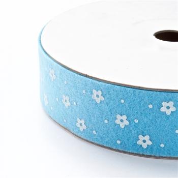 Лента фетровая 25 мм в цветочки голубая