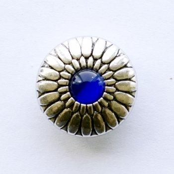 Бусина кнопка SNAP Орнамент с синим камнем