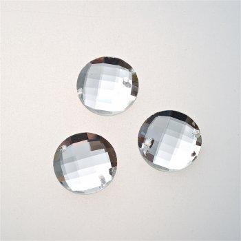 Стразы стеклянные пришивные. Прозрачный. Диаметр 18 мм.