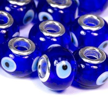 "Бусина-шарм ""турецкий глаз"", стеклянная, синяя"