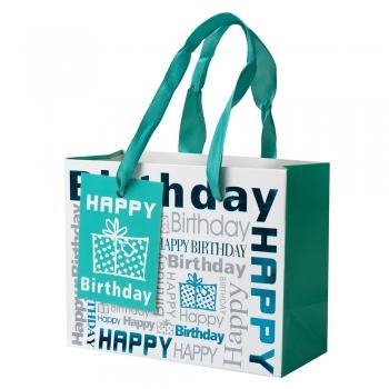 Пакет картонный 14x11x6,5 см Happy Birthday