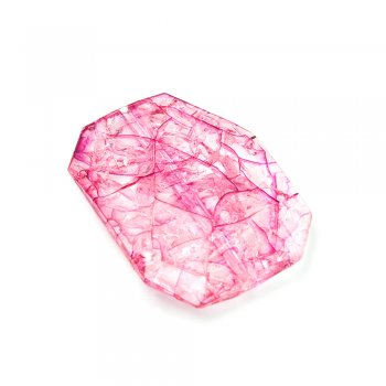 Пластик с кракелюром. Розовый. Бусина восьмиугольная большая.