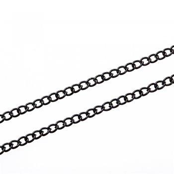 Цепь черная мелкая панцирная 3х4,5х0,7 мм