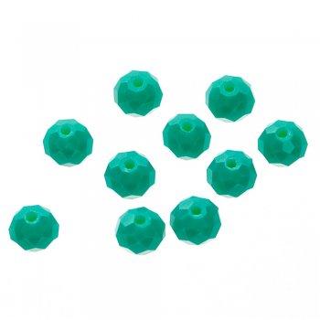 Хрустальная бусина круглая сплюснутая, зелёная, 8 мм