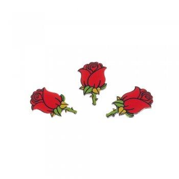 Роза. Пластиковый  клеевой элемент, 35 мм