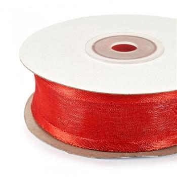 Стрічка з органзи з атласними краями 25 мм червона