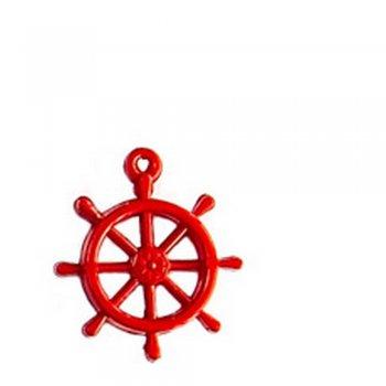 Штурвал великий червоний. Пластикові намистини з імітацією натуральних матеріалів
