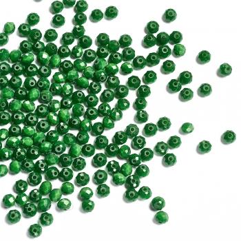 Хрустальная бусина рондель 4 мм зеленая