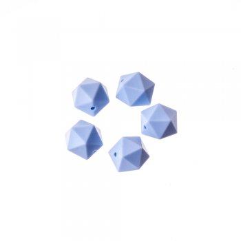 Силиконовая бусина в форме многогранника, светло-синяя, 15 мм