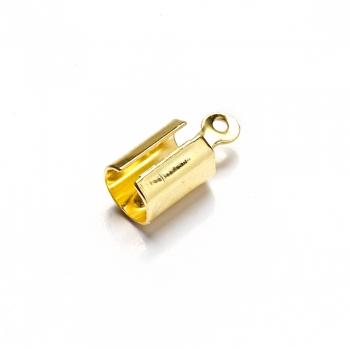 Затискачі для шнурів. Золотий. Довжина 7 мм, діаметр 5 мм