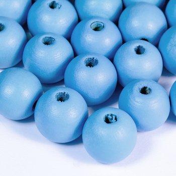 Круглые гладкие деревянные бусины голубий