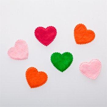 Сердца. Текстильные дутые элементы, микс цветов, 18х21 мм