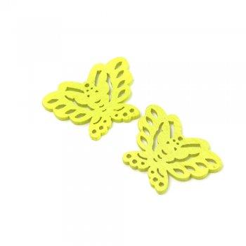 Подвески деревянные. Бабочка неоново-желтая. Размер 20 * 27 мм.