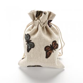 Мішечок з мішковини 10х14 см Метелики