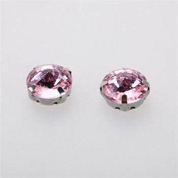 Стрази скляні в металевій оправі. Рожевий. Діаметр 12 мм.