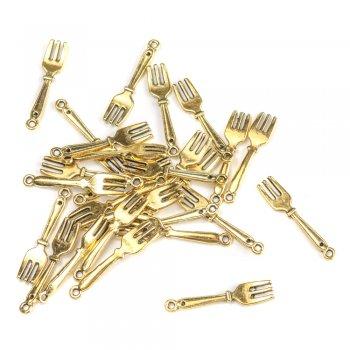 Вилка. Металлические литые подвески черненое золото